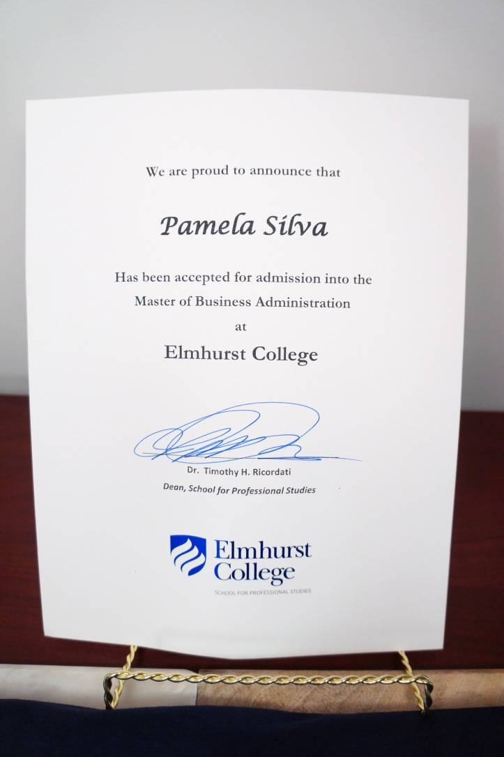 MBA admissions letter Elmhurst College