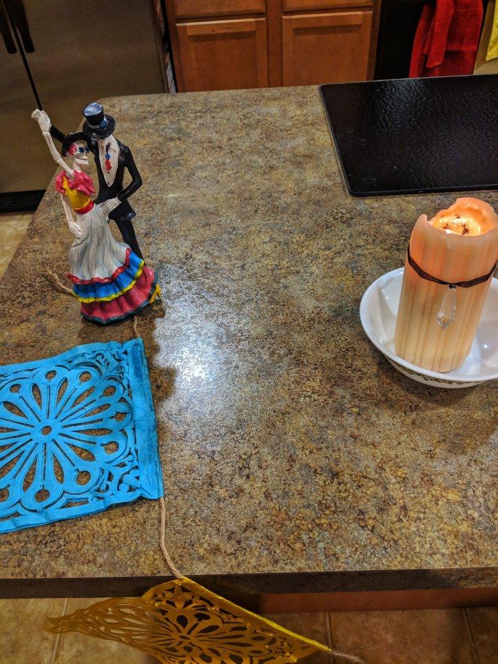 dia de los muertos candle papel picado