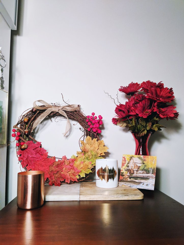 autumnal decor flowers wreath leaves postcard candle copper