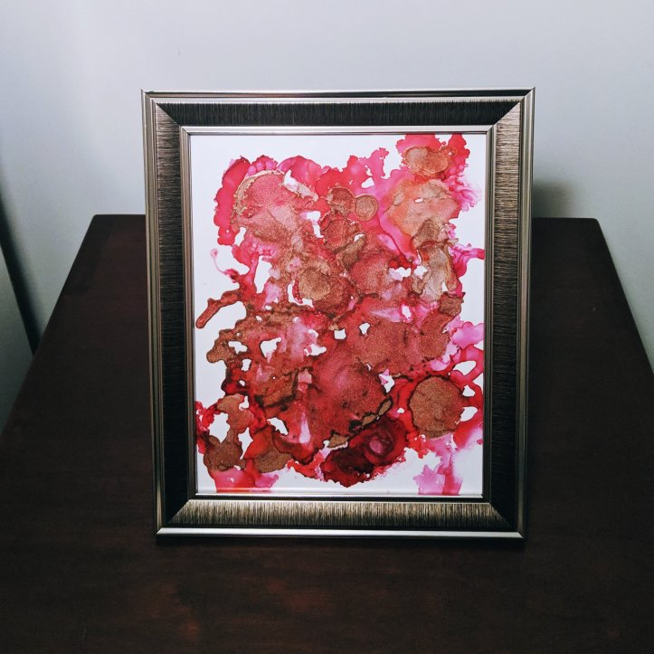 DIY framed alcohol ink painting