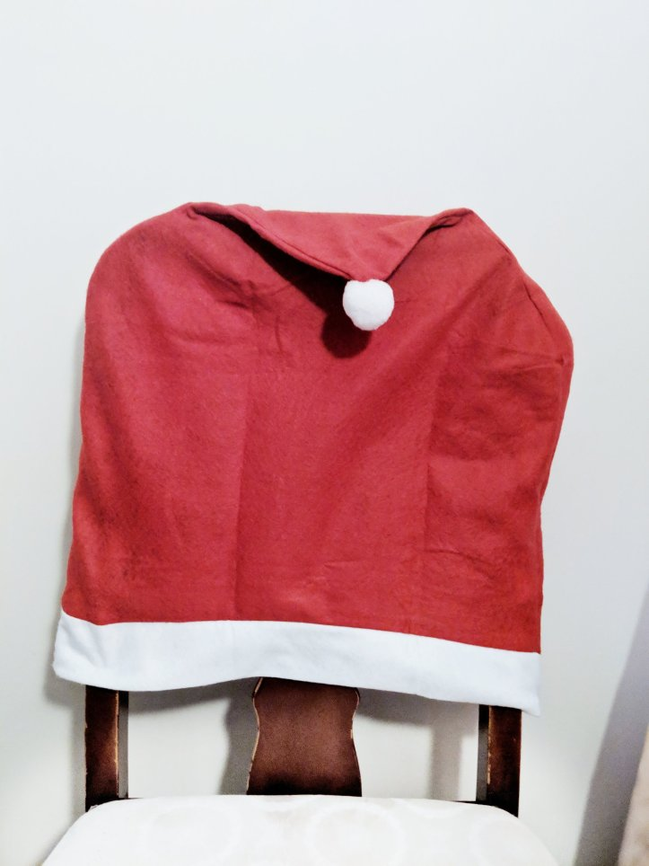 blogmas advent chair santa hat