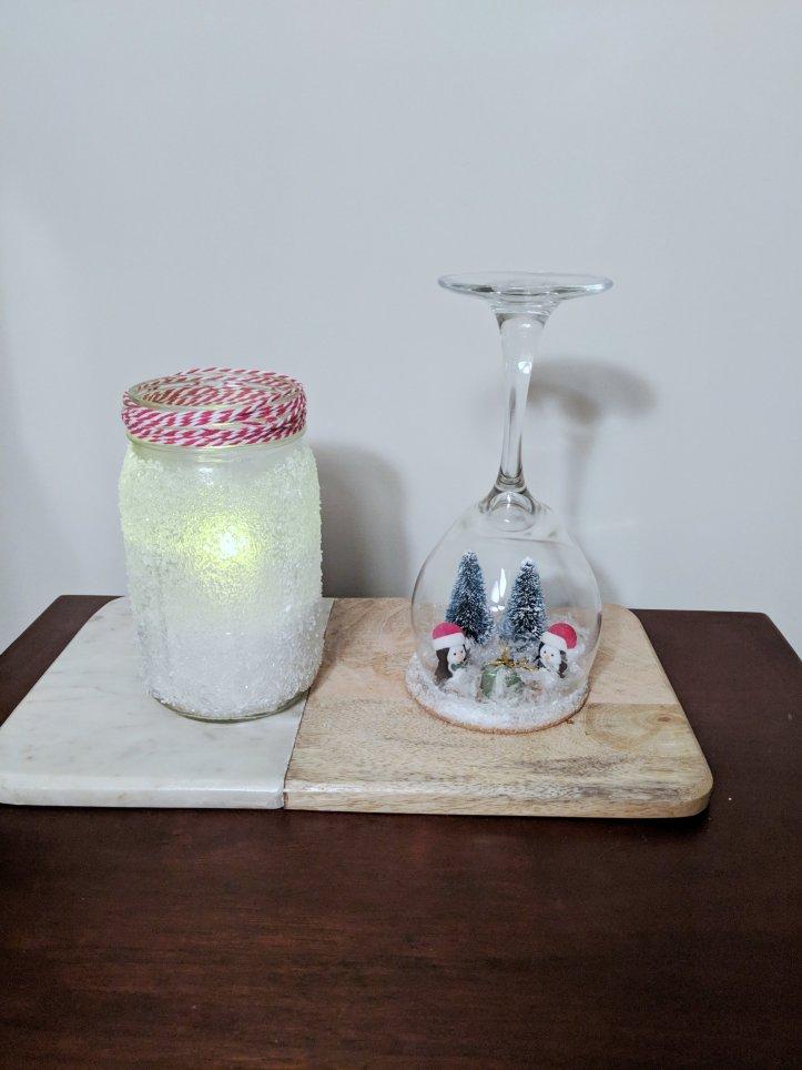 DIY snowy mason jar snow globe wine glass library