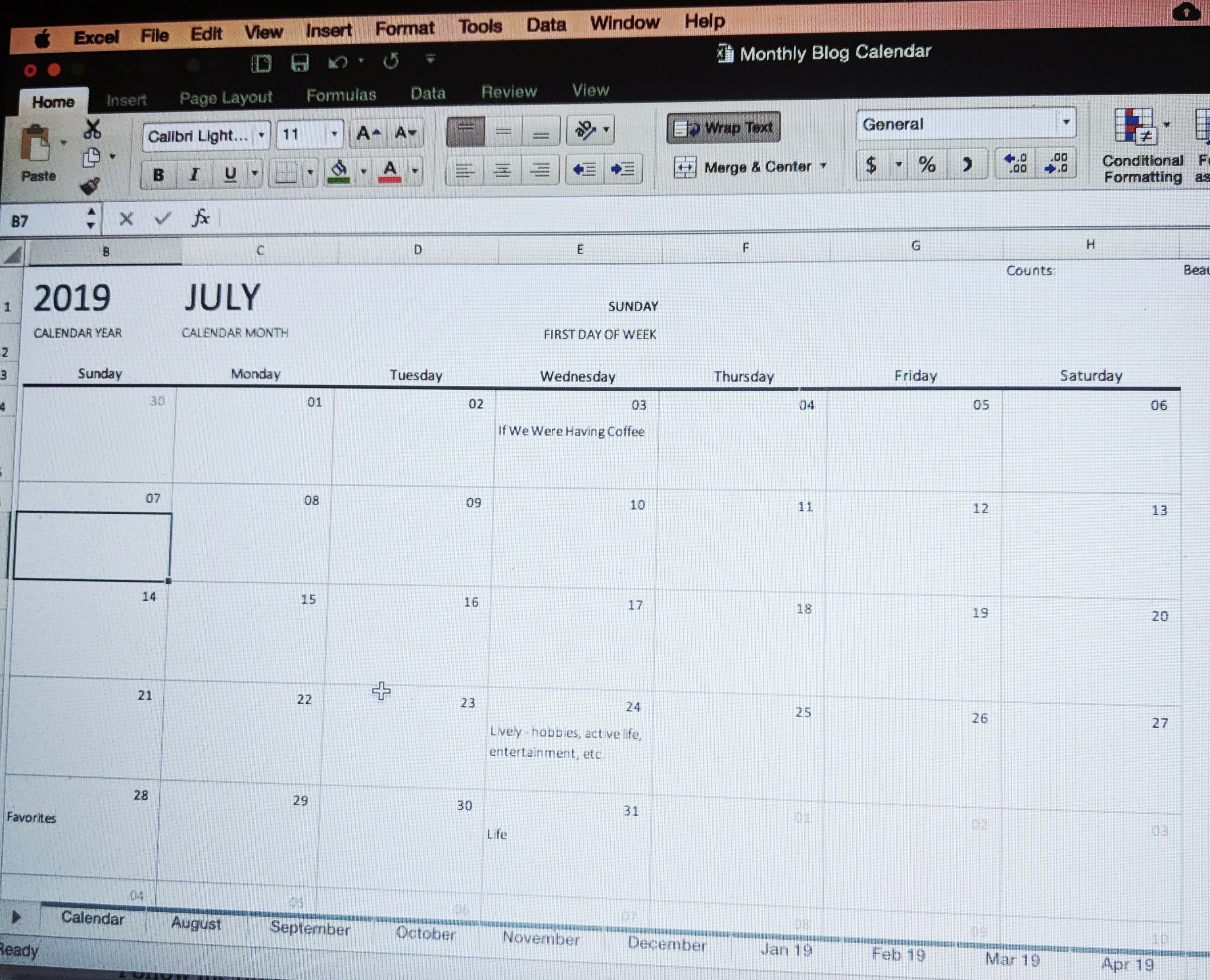 how I blog plan calendar