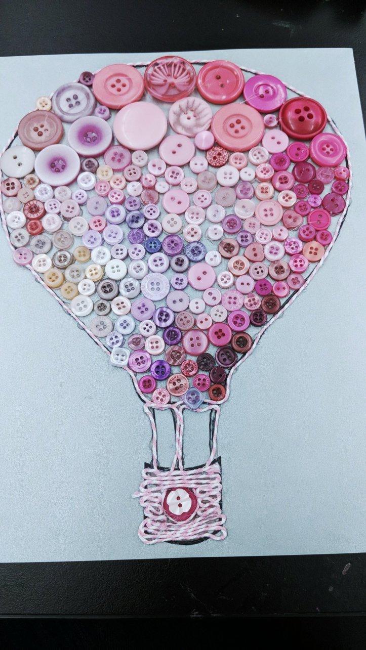 hot air balloon button art diy