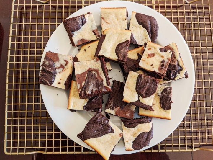 quarantine baking camo brownies