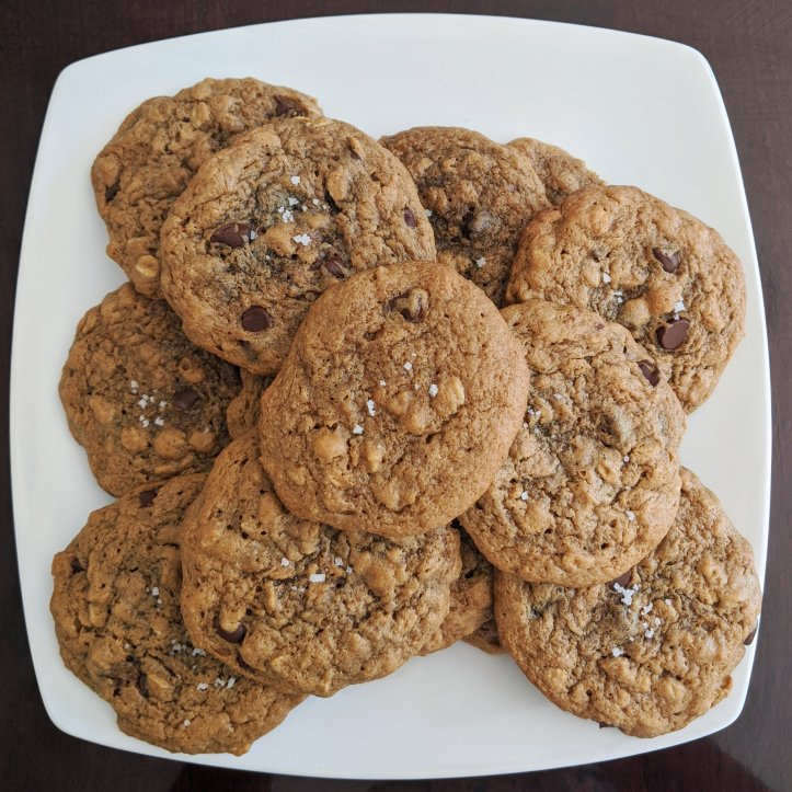 my august bakes peanut butter oatmeal chocolate chip cookies