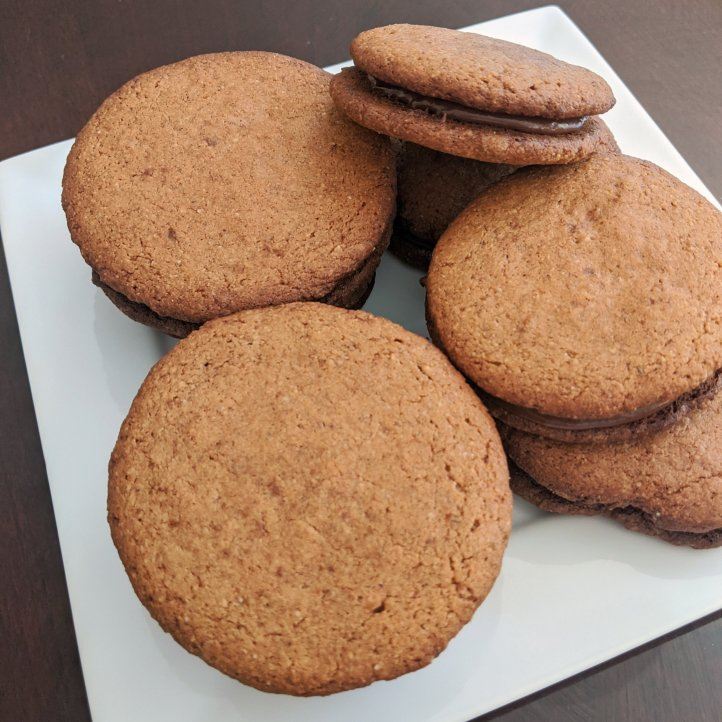 my august bakes almond butter chocolate sandwich cookies