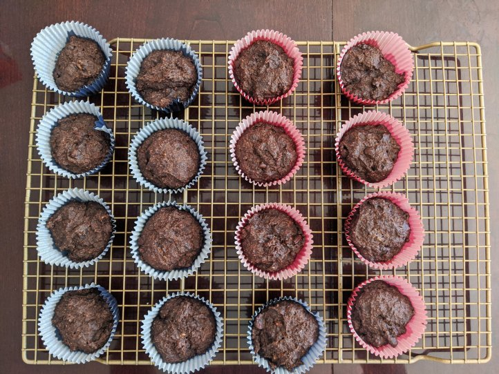 my august bakes chocolate peanut butter banana muffins